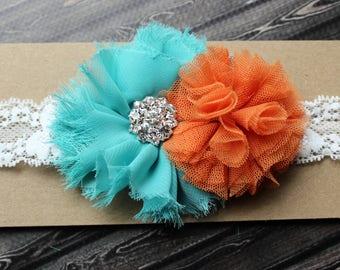 Miami Dolphins inspired headband, Dolphins football baby girls headband, aqua and orange girls hair bow gift