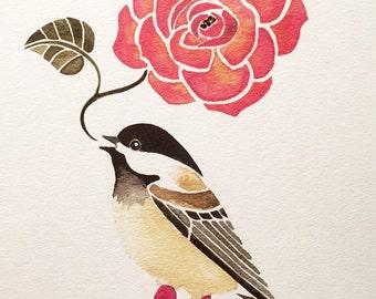 CHICKADEE PRINT, chickadee watercolour, spring painting, chickadee painting, bird and flower painting, limited edition art print
