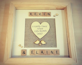 Wedding gift frame personalised hearts love birds scrabble