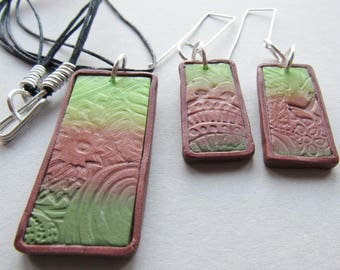 Bronze and green polymer clay necklace and earring set