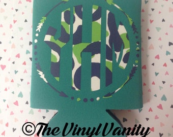 Lilly Pulitzer inspired can cooler, lilly pulitzer inspired, monogram can cooler, custom can cooler