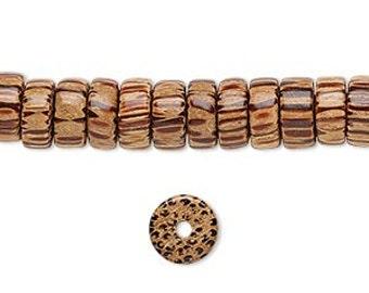Wood Beads, Rondelle Beads, Coconut Palm Tree Wood, Tribal, Beach Beads, 8x5mm, 10 beads, D920