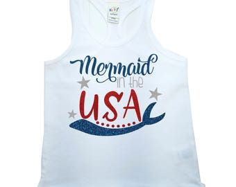 Mermaid in the USA, Mermaid, Red White and Blue, Fourth of July, Baby Girl, Toddler Girl, Tank Top, TShirt, Shirt, Stars & Stripes, Sparkle