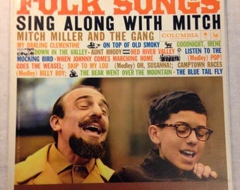 Mitch Miller- Folk Songs Sing Along With Mitch Miller & The Gang LP EX Columbia Six Eye Vinyl Record CL1316