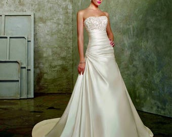 Gorgeous Satin Aline Style Wedding Gown with a Beaded Strapless Bodice and Chapel Train