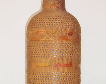 Antique Tlingit Alaskan Native American Basketry Bottle with Spruce Root and Glass