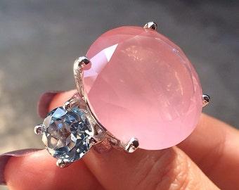 Rose Quartz with Aquamarine Ring
