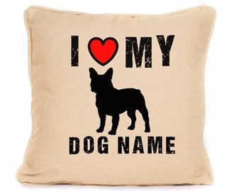 Personalised I Love My French Bulldog Luxury Large Cushion NEW