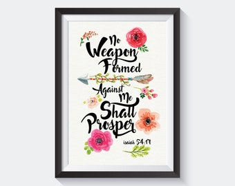 No Weapon Print // Isaiaha 54:17 // 8x11 Poster // Bible Quote // Home Decor // Wall Art