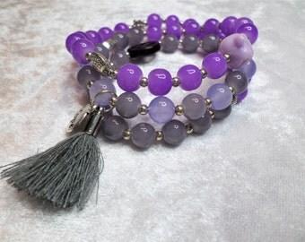 Wrap bracelet, pearls, jade, grey, purple, lilac, Buddha, tassel, hope, peace