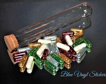 Sparkle Glitter, Chill Pills, Glitter Capsules, Raver Favor, White Elephant Gift, Gag Gift, Glitter Pills, Assorted Glitter, Fine Glitter