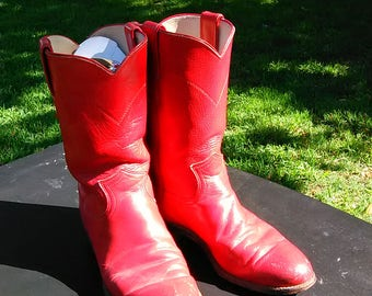 Size 7 B Red Justin Ropers