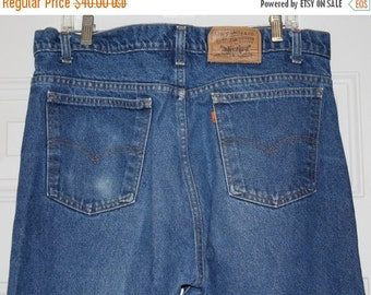 On Sale Vintage 80s 505 Levis ORANGE Tab Straight Leg Retro Faded Denim Jeans USA 38x34