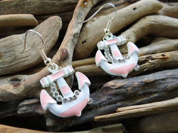 AHOY Nautical Anchor Earrings Crystals Bling Rhinestones Stripe Anchors Silver Sailor Pinup Rockabilly mermaid Pink White Dangle Hooks