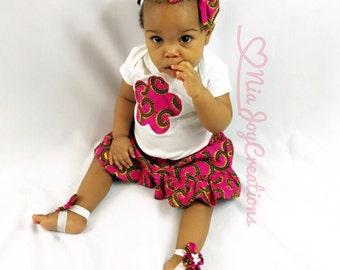 African Kids Clothing: Jess Skirt Set. Baby Girl Gift, Baby Gift, Ankara Baby Clothing, African Print Baby Clothing