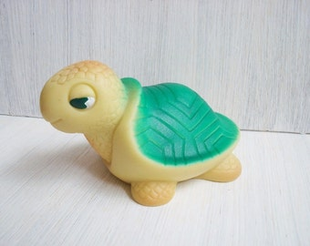 Vintage rubber toy Turtle Soviet vintage Toys for bath Made in USSR