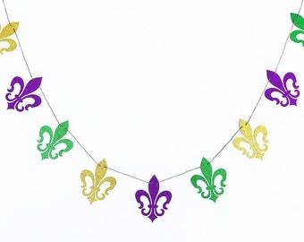 Fleur De Lis Banner | Fleur De Lis Garland | Madi Gras Banner | Mardi Gras Garland | Fleur De Lis Decoration | Mardi Gras Decor