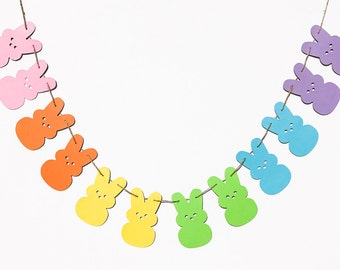 Marshmallow Bunny Garland | Easter Candy Inspired Banner | Easter Bunny Decor | Marshmallow Decoration | Easter Garland | Easter Decor