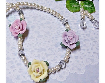 Necklace earrings set, Classic pearls and Porcelain Rose, yellow, lavender, pink, choose clip on or pierced fittings