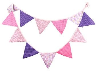 Pink & Purple Vintage Fabric Floral Bunting Wedding Banner Shabby Chic Party Hanging Pennant Flag Decoration