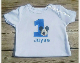 Mickey Mouse Embroiderd Onesie or Shirt, Numbers 1-9