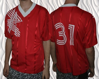 80's UMBRO - Medium - Shimmery Shiny Red Football Jersey - Made in the U.S.A