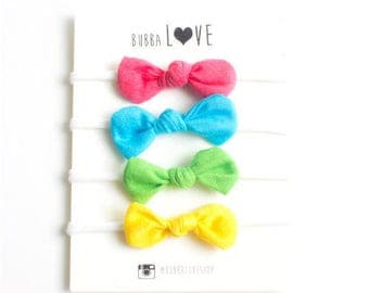 Nylon Baby Bow Headband, Set of four. Soft and Stretchy No Mark. Spring Colors Pink Blue Yellow Green Bow. Easter Headbands. Baby Girl Gift