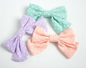 Hair Bows for Toddlers, Toddler Girl Sailor Bow, Cute Toddler Hairbow, Alligator Clip Fabric Bow, Girl Hair Bow Set, Toddler Bow with Tails