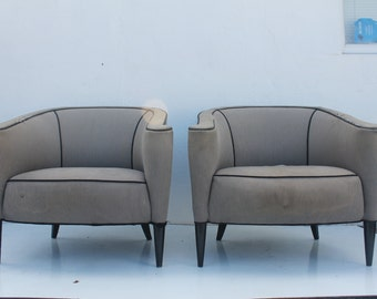 Mid-Century Modern Barrel Back Club Chairs A- Pair.