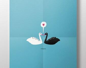 Ilustración 'Swans love' para decorar tu hogar. Amor. Regalo bonito. Ilustración. Cisnes. Dibujo de cisnes. Animales. Deco de casa. Lámina.