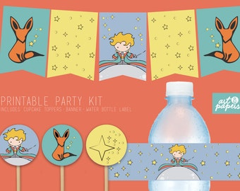 Printable Party kit - Baby Shower - Birthday Party-  The Little Prince- Includes: Banner, cupcake toppers and water bottle labels