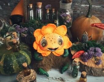Flower. Cute toy. Flower doll. Fantasy creatures. handmade toy. Fantasy. Monster. OOAK. Handmade. Polymer clay doll. OOAK art doll. Kawaii.