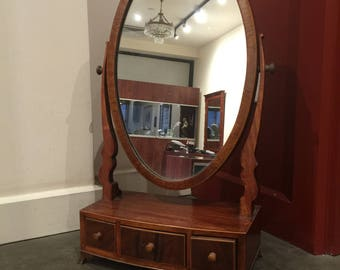 An Antique (Victorian) Sheraton Solid Red Mahogany Dressing Mirror with 3 Drawers