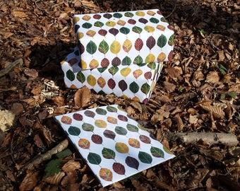 Beech Leaf Wrapping paper by Alice Draws The Line; Recycled 100gsm paper with a repeated pattern of leaves going from green through to brown