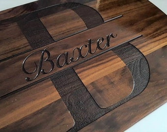 Custom Cutting Board, personalized cutting Board with Juice groove ,Wedding Monogram,  kitchen sign (202)