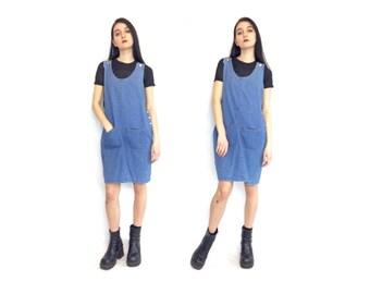 Vintage 90s Blue Jean Pocket Button Tank Top Sleeveless Oversized Overalls Jumper Dress Size Large