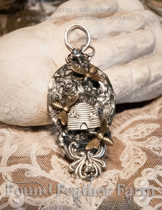 Charming Handmade Embossed English Bee Skep Pendant with Rhinestones and Bronze Honey Bees