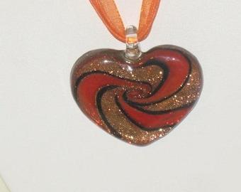 Heart Necklace, Art deco Heart, Heart Jewelry, Ribbon Necklace, Womans Heart Necklace, Golden Nugget Heart Necklace