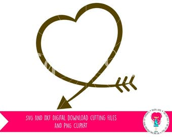 Heart Arrow SVG / DXF Cutting File For Cricut Explore / Silhouette Cameo & PNG Clipart, Digital Download, Commercial Use Ok