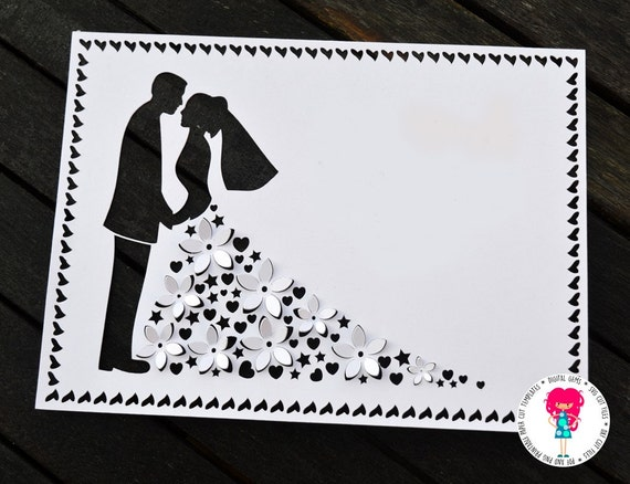 3D Wedding Paper Cut Template SVG Cutting File For Cricut / Silhouette & PDF Printable Cut Your ...