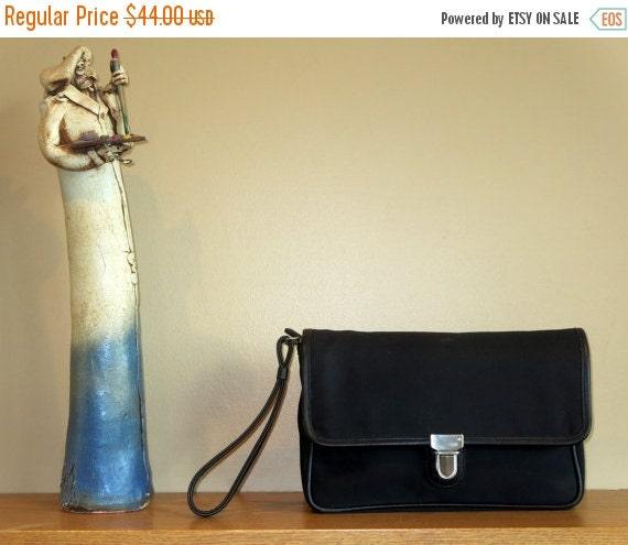 Football Days Sale Coach Black Canvas Flight Travel Bag Wristlet Style No. 5114- VGC
