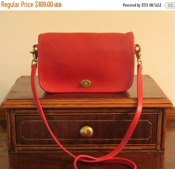 Football Days Sale Coach Pocket Purse Red Leather  Crossbody Bag Made In The Factory In New York City- Very Good to EUC