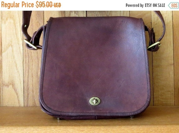 Football Days Sale Coach Stewardess Burgundy Leather Bag - Beautiful But Distressed Pre-orderly Creed Leatherware Vintage- USA Made