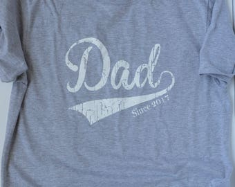 New Dad Shirt. Dad Since 2017 T-Shirt.  New Father gift. Gift Baby Shower Gift. 1st Father's Day gift