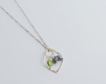 Multi-way Sterling Silver Leaf and Gemstone Necklace