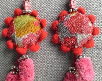 Textile earrings. Flowers of the country to the rising sun.