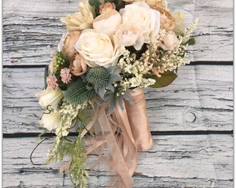 Fall bouquet, cascade bouquet, tan roses, wedding bouquet.01 includes groom boutonniere