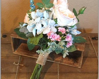 Pink and sky blue bridal bouquet set! New 2017 item. Includes boutonniere.