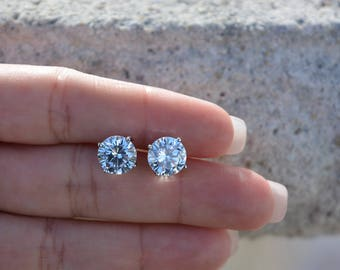 Sterling Silver 7mm Stud Earrings. High Quality Round Cz Stud Post Earrings.