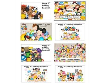 16 PERSONALIZED Tsum Tsum Inspired Stickers, Birthday party favors, custom made